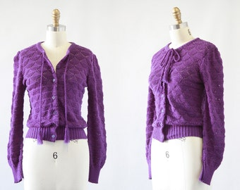 PIERRE CARDIN Vintage 70s Sweater | 1970's Crochet Knit Purple Cardigan | Paris New York | Vintage Designer Boho, Bohemian Top | Size Small