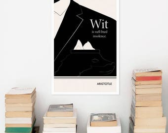 "Literary Art Prints, ""Aristotle"" Quote Minimalist Poster, Large Wall Art Print, Typography Literary Gifts, Gift for Him, Fathers Day"
