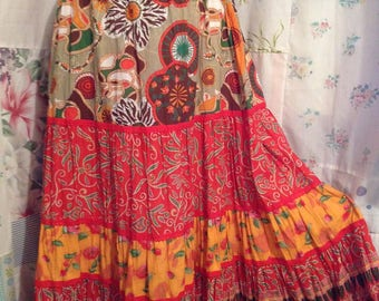 LARGE, Skirt, Bohemian Hippie Indie Boho Flowerchild Tiered Orange Cotton Skirt