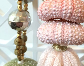 Shell Christmas Ornament, Sea Urchin Ornament, Tassel Ornament -- Metallic Christmas, Pink Decor, Gift for Her