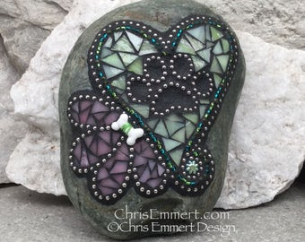 Green Heart w/ Pink Flower, Black Paw Print - Garden Stone, Pet Memorial