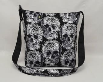 Shattered Skulls Large Crossbody Bag with Pockets, Black and White, Fabric with Canvas Liner, Ready To Ship