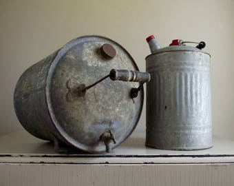 Metal Fuel Can , Galvanized Fuel Can , Vintage Can with Spigot , Industrial Decor , Rustic Farmhouse Decor , Garage Stage Prop Styling