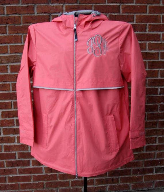Monogrammed Coral New Englander Rain Jacket