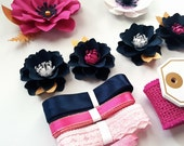 Gift Wrap - Embeliishment Kit - Package Decor - Paper Flower and Ribbon Kit - Navy and Pink - Ready To Ship
