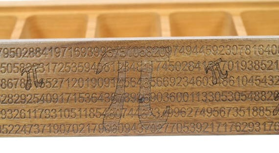 Pi Pattern JUMBO Weekly Pill Box, JV10, Solid Walnut Hardwood Top with Solid Cherry Hardwood Bottom, Paul Szewc, Masterpiece Laser