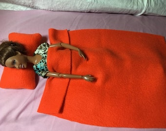 Solid bright orange Fleece bedding set for male & female Fashion Dolls - bsb33