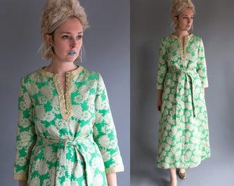 Vintage 60's 70's Metallic Gold Sparkle Sea Foam Maxi Dress Retro/Hippie/Boho Women's Medium Large