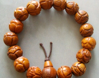 12mm Jujube Wood Carved Flower Tibetan Buddhist Prayer Beads Mala Bracelet  S267