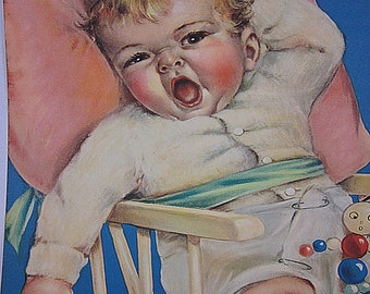 Colorful Vintage Print, The Sandman Comes, Tintogravure, 1935, Brown & Bigelow, Paper Ephemera, Nostalgic, Framing, Estate Item