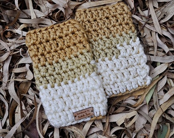 Crochet Fingerless Gloves Gold Beige Off White
