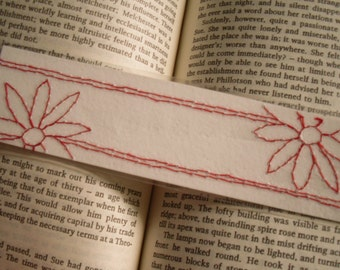 Floral bookmark, Laminated Red Floral Stitched Bookmark