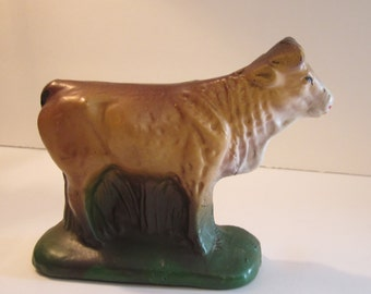 Hand Painted Cow Figure for Nativity or Collection - Antique Molded Pottery Style