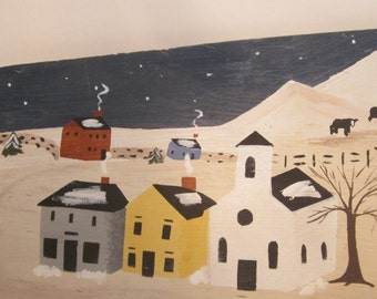 Primitive Painting on Horizontal Wood Panel - Signed Original - New England Folk Art Snow Scene with Horse and Buggy - Winter Holiday Decor
