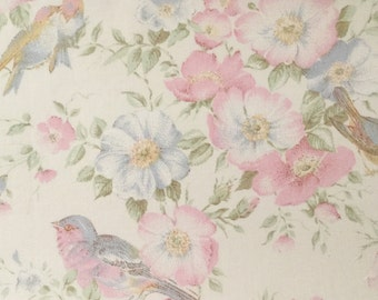 Vintage Birds and Pink Floral Fabric Bundle