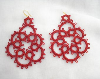 Red lace earrings, Tatting lace earrings, Needle tatting jewelry, Arabesque lace drops, Birthday gift, Frivolite earrings, Xmas gifts.
