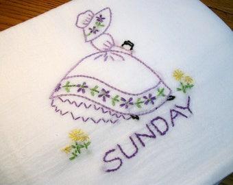 Dish (Tea) Towel with Sun Bonnet Sue Design Hand Embroidery Flour Sack Dish Towel  Sunday