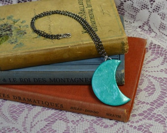 Hey Moon Giant Teal Polymer Clay Moon Sculpture Necklace Choker OOAK