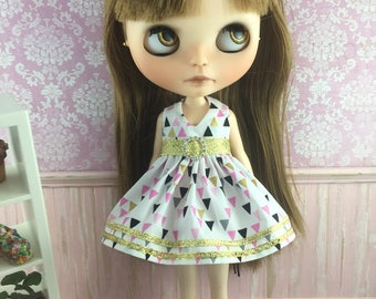 Blythe Party Dress - Triangles & Gold