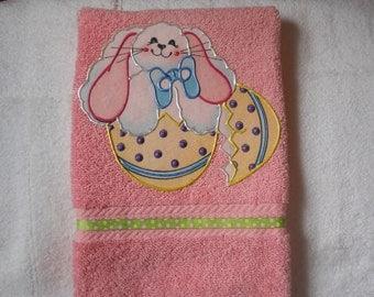 Easter Hand Towel, Appliqued Easter Bathroom Towel, Appliqued Easter Kitchen Towel, Easter Bunny Towel, Pink Easter Towel, Easter Decoration