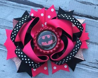 NEW ITEM Boutique Baby Girls Layered Batgirl Hair Bow Batgirl Hair Clip Batgirl Birthday Super Hero Hair Bow Batgirl