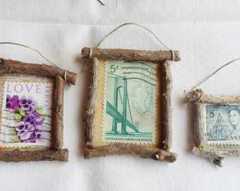Fairy House Accessories - Set of 3 Postage Stamp Art Miniature Pictures w/ Twig Frames - Violets, Bridge