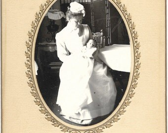 Antique Cabinet Photograph Identified Nurse and Baby Ghost Image on reverse