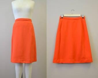 1970s Orange Poly Knit A-Line Skirt