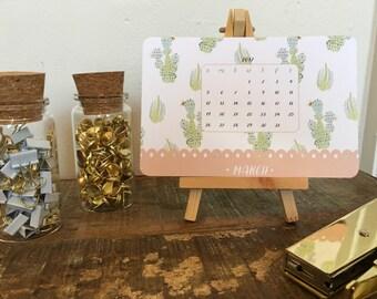 Watercolor Cactus Desktop Calendar with Wood Stand 2017 - Small Desktop Calendar - Christmas Gift - Office Accessories - Mini Desk Calendar