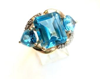 Vintage 14K Gold Ring Blue Topaz Diamond Ring Vintage Statement Ring Emerald Cut