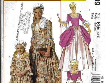 McCalls M6139 Kids Costume American Colonial Dress Gown  Sewing Pattern UNCUT 6139 Size 3, 4, 5, 6, 7, 8