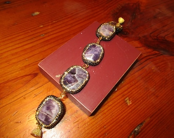 Dazzling Genuine AMETHYST Link Bracelet w/MICRO PAVE Gold & White Rhinestone Encrusted Sides and Borders and Textured Gold Magnetic Clasp
