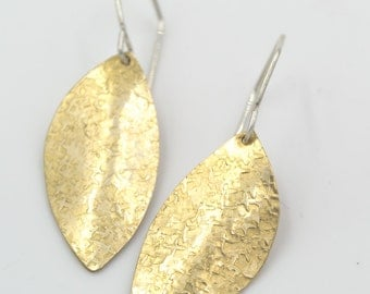 Brass Hammered Curved Petal Earrings