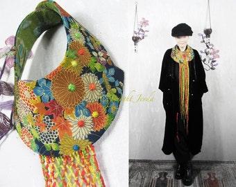 Collar, Necklace, Wearable Art, Unique Necklace, Fringes Necklace, Flowers Necklace, Colorful Necklace, Statement Necklace, Art Neckpiece