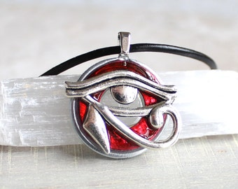 red eye of horus necklace, mens jewelry, cord necklace, mens necklace, unique gift, Egyptian god, Egyptian symbol, The Wadjet, mens gift