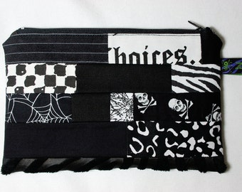 Goth Patchwork Zipper Pouch - black and white