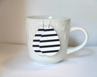 Black White Stripe Teardrop Drop Leather Earrings