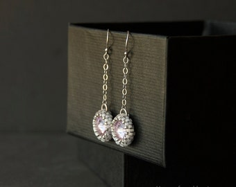 Sterling silver chain drop earrings. Hand beaded Swarovski crystal drop earrings. Pastel mauve vintage style earrings. 925 silver jewellery.