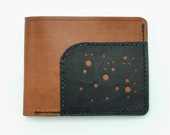 Taulis Wallet - Tan and Black - mens leather wallet - handmade leather - made in usa - mens wallet - leather wallet - horween