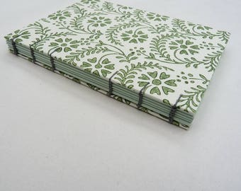 Florentine notebook A6, green flowers, coptic