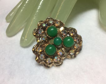 "Vintage 1 3/4"" Goldtone Aurora Rhinestone Green Beaded Accented Pin"