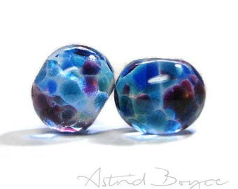 Faerie Wings Artisan Lampwork Glass Bead Pair - Free USA Shipping-Beautiful Glass for Earrings Necklaces - Purple and Blue Transparent Glass