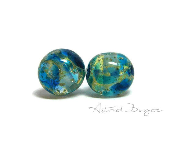 Frozen Rounds Artisan Lampwork Glass Bead Pair - Perfect for Orb Necklace or Orb Earrings - Wonderful to use with macrame or leather cording