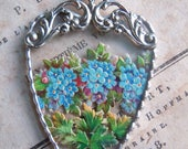 Fiona & The Fig - Victorian Era-Die Cut Scrap- Blue Forget Me Not Flowers - Soldered Charm - Necklace - Pendant-Jewelry