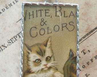 Fiona & The Fig - Antique Victorian Era-Trade Card - Cat - Soldered Charm - Necklace - Pendant-Jewelry