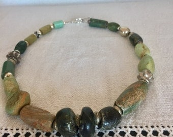 Ancient Amazonite and silver necklace