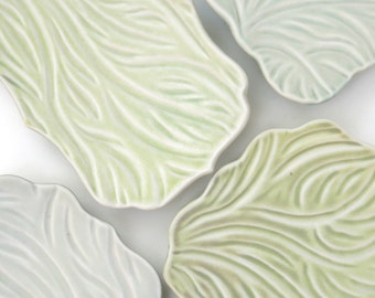 Pastel carved porcelain tray for jewelry, keys, food, aqua, yellow green, pale blue