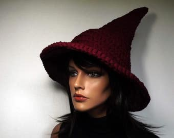 Witch Hat Crochet- Limited Edition Color Burgundy The Craft Keeper- Traditional Witch Hat Perfect Pointy Halloween Yule Fashion