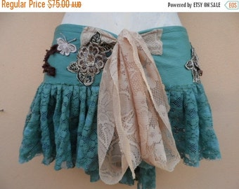 """20%OFFplusREFUND SHIPPING vintage inspired extra shabby wrap mini/belt..a work of art 40"""" across plus ties."""