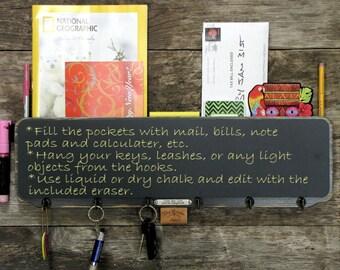 Chalkboard Mail Organizer Key Rack in Black, Chunky Chalkboard